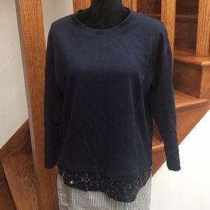J. Crew Navy Sequin Hem Sweatshirt